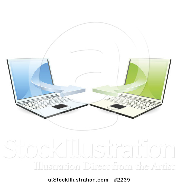 Vector Illustration of 3d Laptops Communicating on a Network