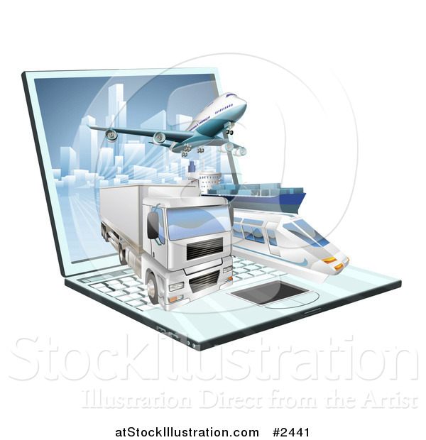 Vector Illustration of 3d Logistics Shipping Vehicles over a Laptop Computer