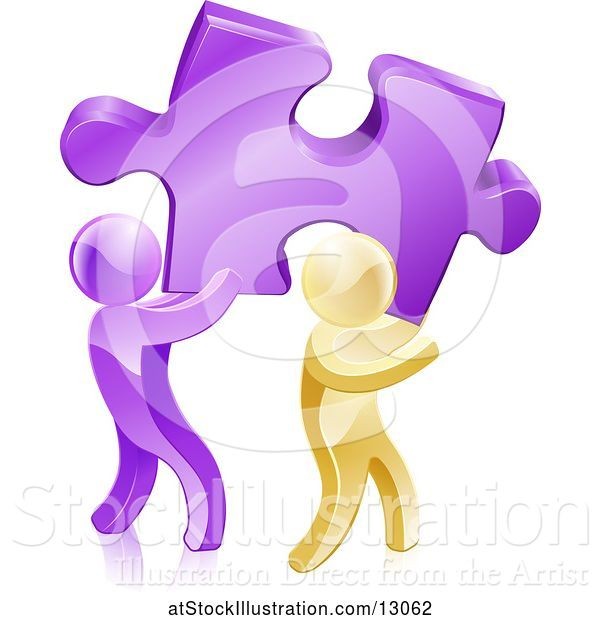 Vector Illustration of 3d Purple and Gold Men Carrying a Large Solution Puzzle Piece