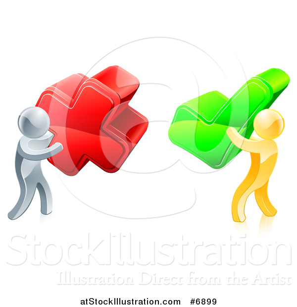 Vector Illustration of 3d Right and Wrong Silver and Gold Men Carrying X and Check Marks