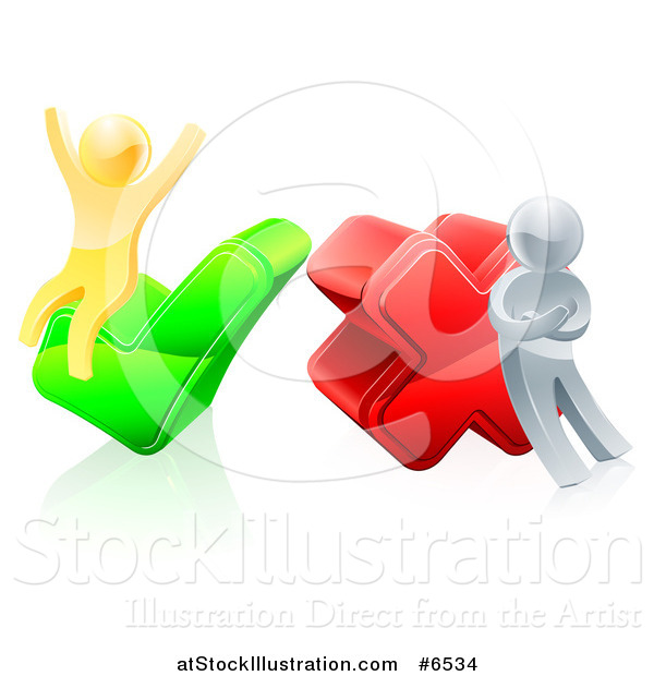 Vector Illustration of 3d Right and Wrong Silver and Gold Men Cheering and Pouting with X and Check Marks