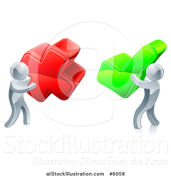Vector Illustration of 3d Right and Wrong Silver Men with X and Check Marks