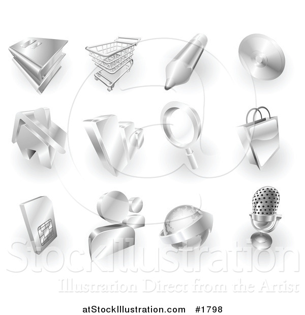 Vector Illustration of 3d Shiny Metal Book, Cart, Pencil, Cd, House, Bar Graph, Magnifying Glass, Shopping Bag, Media, Globe and Microphone App Icons