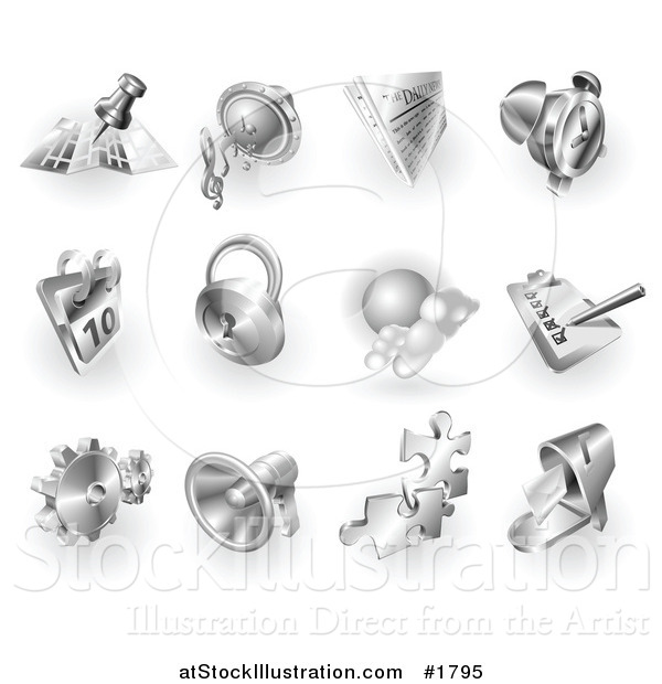 Vector Illustration of 3d Shiny Metal Navigation, Audio, News, Alarm Clock, Calendar, Security, Checklist, Gear, Megaphone, Solutions and Mail App Icons