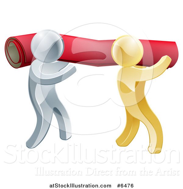 Vector Illustration of 3d Silver and Gold Carpet Installers Carrying a Red Roll