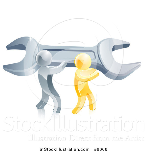 Vector Illustration of 3d Silver and Gold Men Carrying a Giant Adjustable Wrench