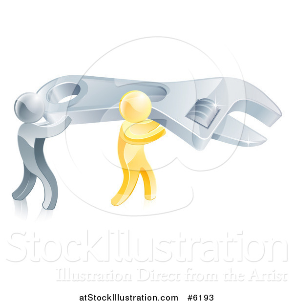 Vector Illustration of 3d Silver and Gold Men Carrying a Large Adjustable Wrench