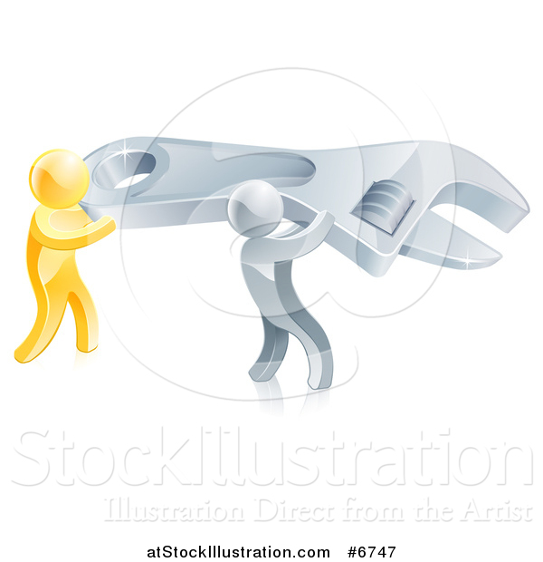 Vector Illustration of 3d Silver and Gold Men Working Together and Carrying a Large Adjustable Wrench