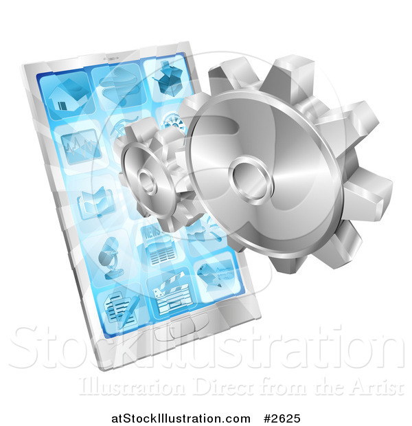 Vector Illustration of 3d Silver Gears and a Touch Screen Cell Phone