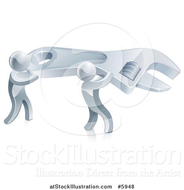 Vector Illustration of 3d Silver Men Carrying a Giant Adjustable Wrench