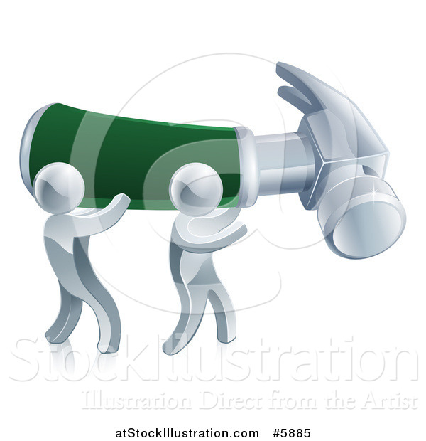 Vector Illustration of 3d Silver Men Carrying a Giant Hammer