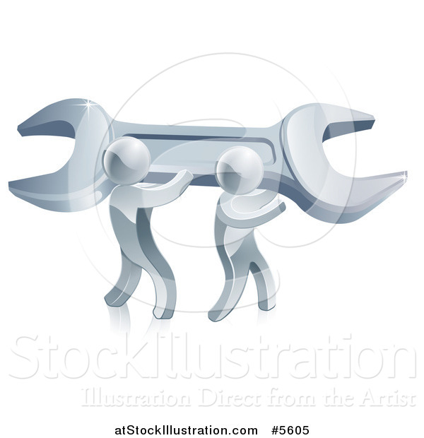 Vector Illustration of 3d Silver Men Carrying a Giant Wrench