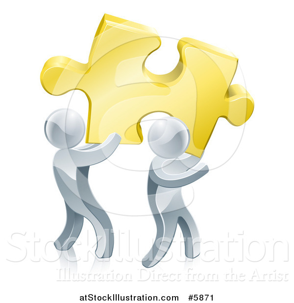 Vector Illustration of 3d Silver Men Carrying a Golden Puzzle Piece