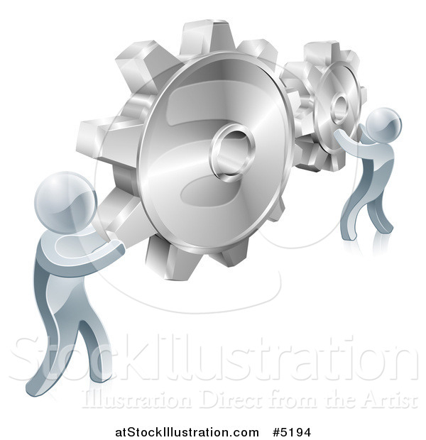 Vector Illustration of 3d Silver Men Connecting Two Giant Gear Cogs