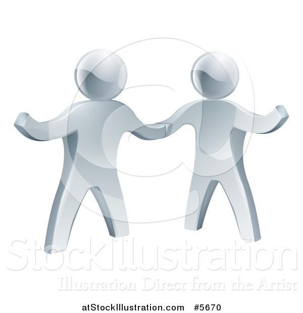 Vector Illustration of 3d Silver Men Shaking Hands and One Presenting