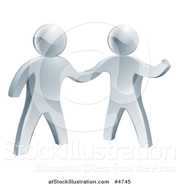 Vector Illustration of 3d Silver Men Shaking Hands