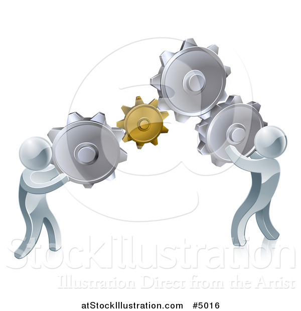 Vector Illustration of 3d Silver Men Working As a Team with Gear Cogs