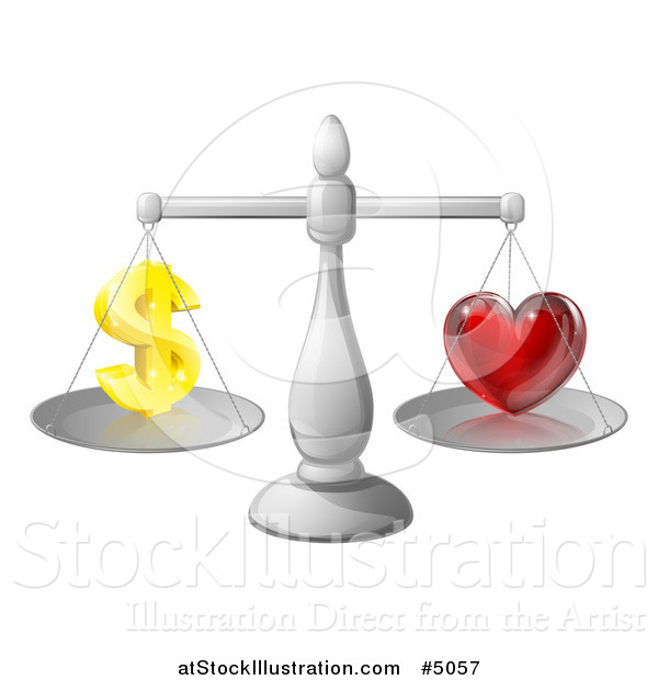 Vector Illustration of 3d Silver Scales Balancing Finances and Love