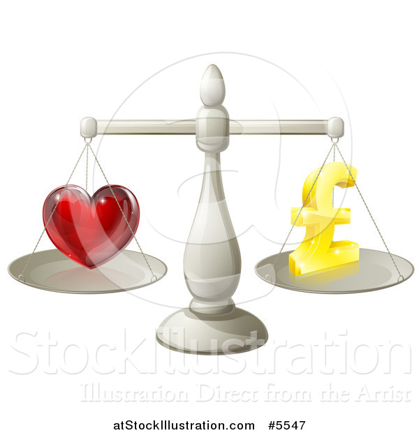 Vector Illustration of 3d Silver Scales Balancing Pound Sterling Finances and Love