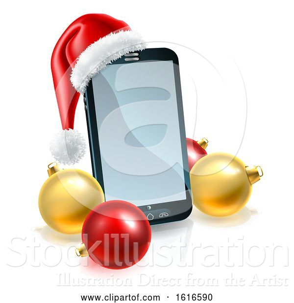 Vector Illustration of 3d Smart Cell Phone with a Santa Hat and Christmas Baubles