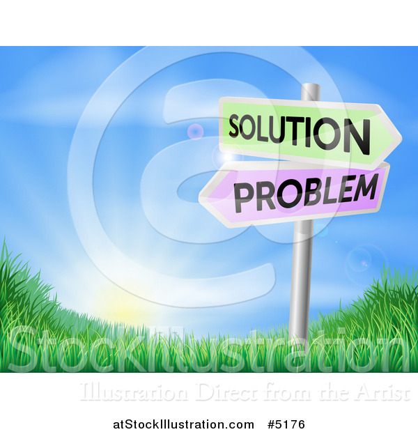 Vector Illustration of 3d Solution and Problem Arrow Signs over a Sunrise on a Grassy Hill