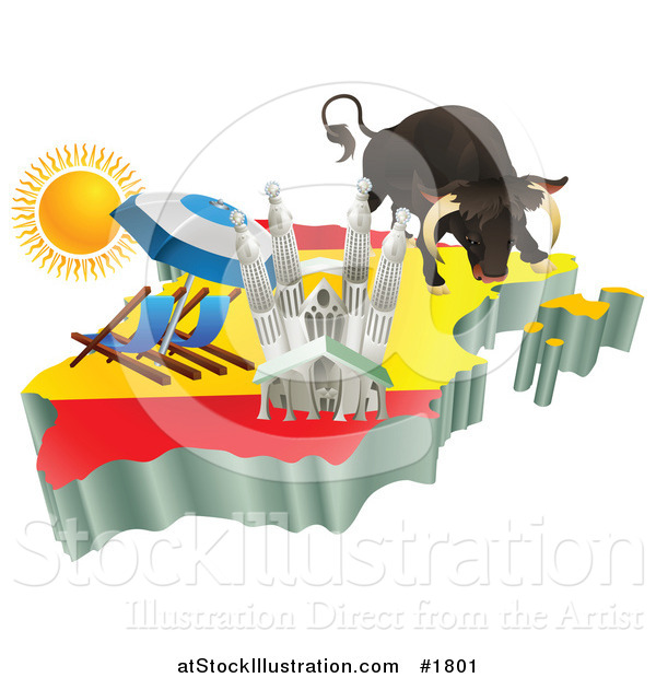 Vector Illustration of 3d Spanish Tourist Attractions over a Flag – Spain Tourist Attractions Map