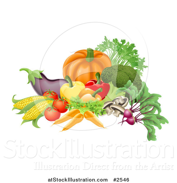 Vector Illustration of 3d Vegetables Arranged Together