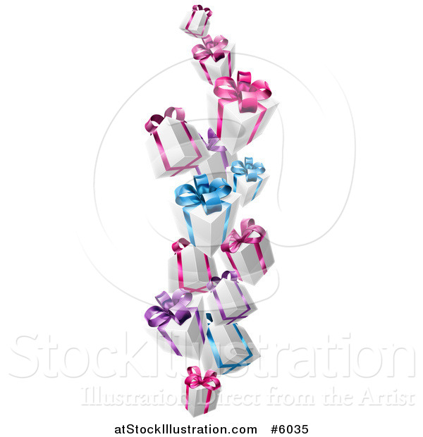 Vector Illustration of 3d White Gift Boxes with Pink Purple and Blue Bows