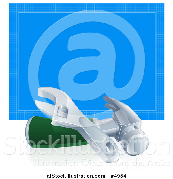 Vector Illustration of a 3d Adjustable Wrench and Hammer in Front of Blueprint Paper