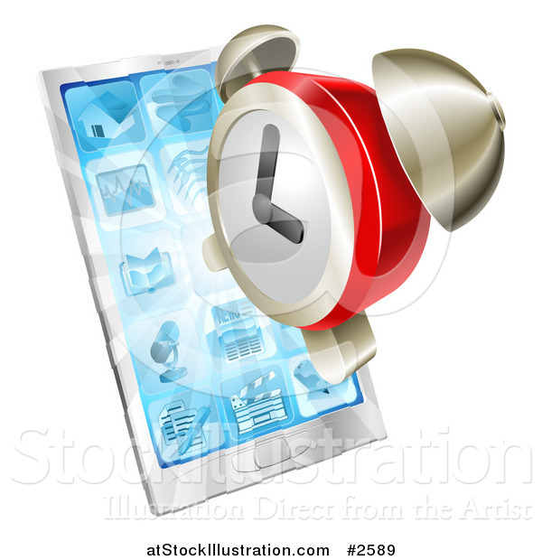 Vector Illustration of a 3d Alarm Clock over a Smart Phone