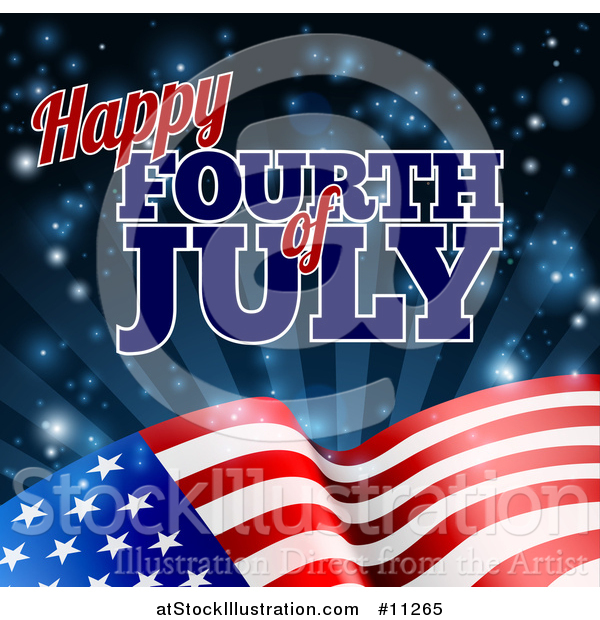 Vector Illustration of a 3d American Flag and Fourth of July Text over Rays and Flares