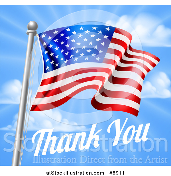 Vector Illustration of a 3d American Flag and Thank You Text over a Blue Sky for Memorial or Veterans Day