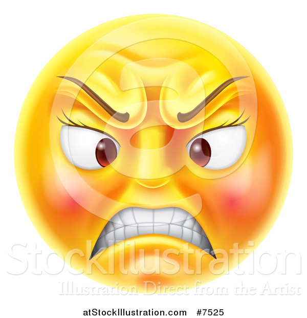 Vector Illustration of a 3d Angry Yellow Female Smiley Emoji Emoticon Face