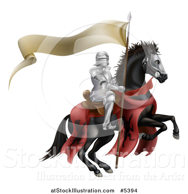 Vector Illustration of a 3d Armoured Knight on a Black Steed, with a Ribbon Banner Flag