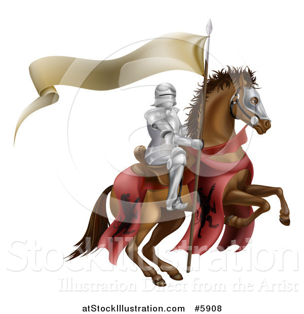 Vector Illustration of a 3d Armoured Knight on a Steed, with a Ribbon Banner Flag