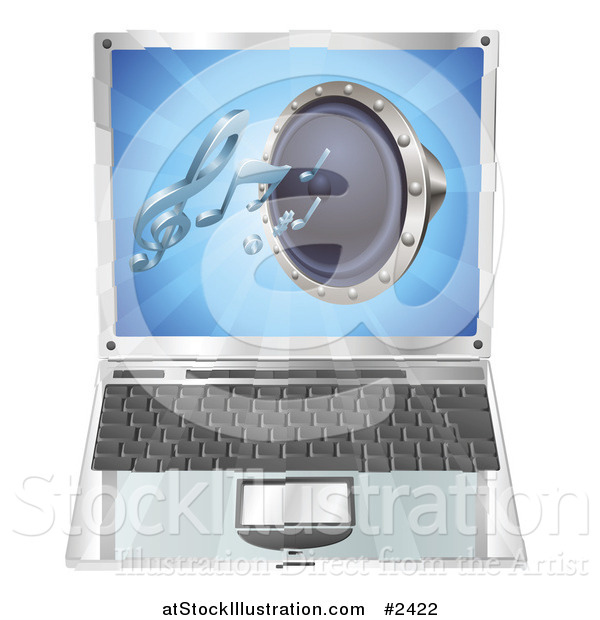 Vector Illustration of a 3d Audio Speaker Emerging from a Laptop Computer