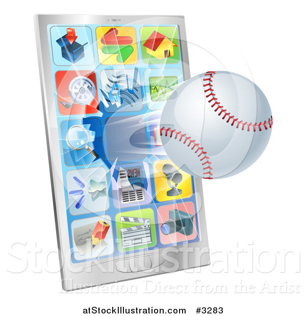 Vector Illustration of a 3d Baseball Flying Through and Breaking a Cell Phone Screen