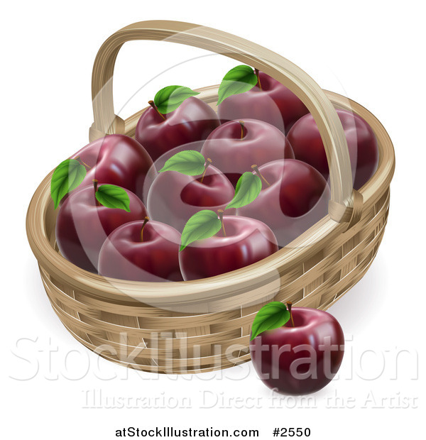 Vector Illustration of a 3d Basket Full of Deep Red Apples