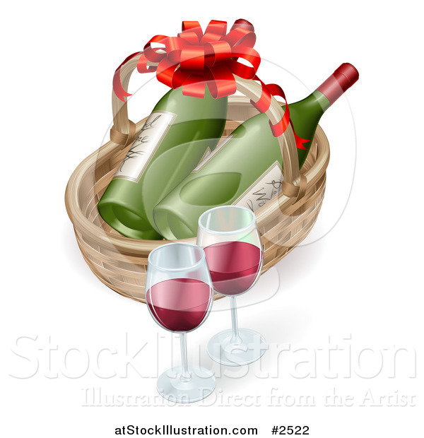Vector Illustration of a 3d Basket with Wine Bottles and Glasses