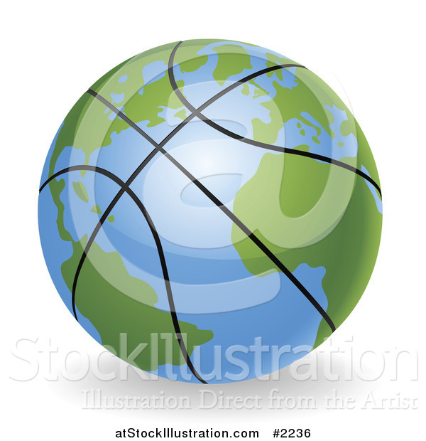 Vector Illustration of a 3d Basketball Globe