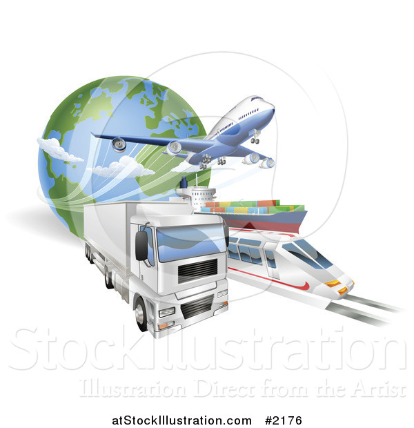 Vector Illustration of a 3d Big Rig, Train, Cargo Ship and Airplane with a Globe