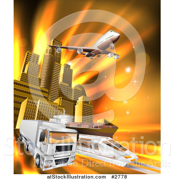 Vector Illustration of a 3d Big Rig Truck Airplane and Train Leaving a City over Orange Rays