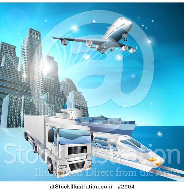Vector Illustration of a 3d Big Rig Truck Train and Airplane Leaving a City