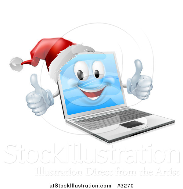 Vector Illustration of a 3d Black Friday Christmas Laptop Mascot Wearing a Santa and Holding Two Thumbs up