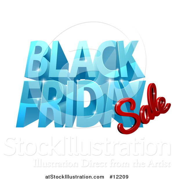 Vector Illustration of a 3d Black Friday Sale Design in Blue and Red