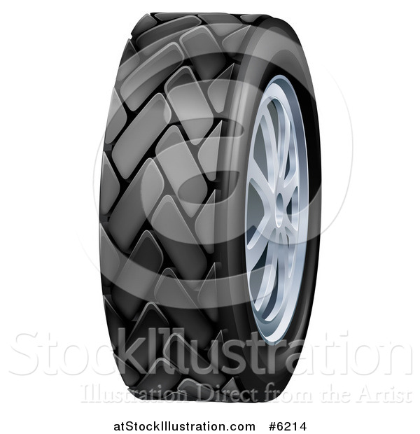 Vector Illustration of a 3d Black Rubber Car Tire and Chrome Rims