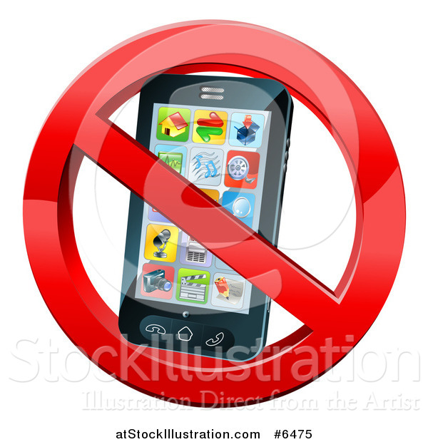 Vector Illustration of a 3d Black Touch Screen Smart Cell Phone in a Restricted Symbol