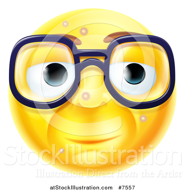 Vector Illustration of a 3d Blemished Yellow Smiley Emoji Emoticon Face Wearing Glasses
