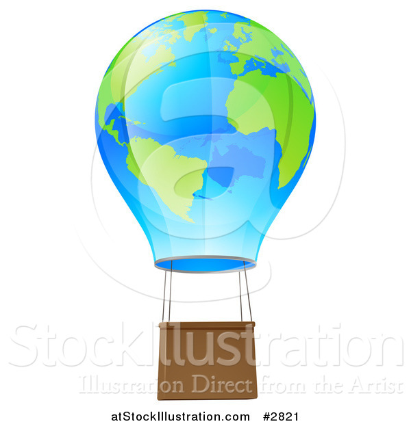 Vector Illustration of a 3d Blue and Green Globe Hot Air Balloon