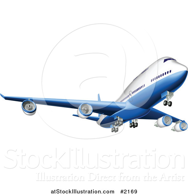 Vector Illustration of a 3d Blue and White Airbus